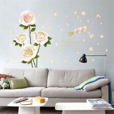 White Rose Flowers Hoom Room Decor Removable Wall Sticker Decal Wandtattoo
