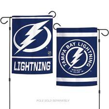 TAMPA BAY LIGHTNING DOUBLE SIDED PINSTRIPES LOGO GARDEN FLAG BANNER