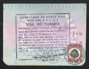 Costa Rica Revenue Stamps on Used Passport Visas Page 1980 Only Page