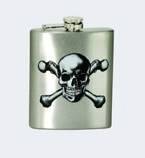 SKULL & CROSSBONES Stainless Steel Hip Flask, 7 oz, by Spoontiques