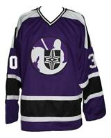 Any Name Number Size Cleveland Crusaders Custom Hockey Jersey Purple Cheevers