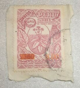 Peru Airmail picturing tobacco plant, S/3.00 overprinted S/3.60