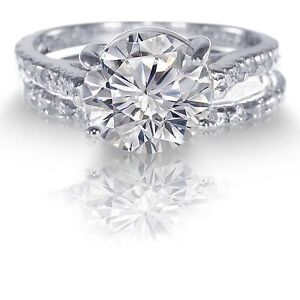 White Gold White Sapphire Wedding Engagement Eternity Sterling Silver Ring Set