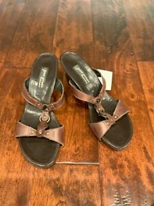 Paul Green Munchen Brown Leather Wedge Sandals, Size 8.5 (US) 6 (UK)
