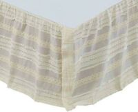 """Cream Cotton Voile Gathered Bed Skirt Rows of Lace Primitive Stitching 16"""" Drop"""