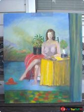 "Nude Young Woman at Desk Reading a Book • Oil on Canvas • 24""W x 28""H"