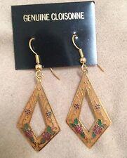 Cloisonne Gold-tone Pierced Cut-out Diamond Dangle Earrings 1 1/2 inX 7/8 in