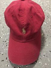 3dac16e5aae Vintage Polo Ralph Lauren Burgundy Hat Cap Adjustable Strap Tan Gold Pony  Rap