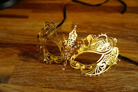 Venetian Gold metal mask  Clear Diamonte  Filigree Masquerade/ Ball/ Prom .UK
