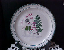 Christmas Dinner Plates Two Porcelain Let It Snow 1998 Snowman Snowlady & Child