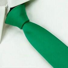 D.berite Men Green Wedding Solid Slim Skinny Classic Neck Tie Plain Necktie SK06