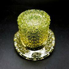 Vintage Fenton Art Glass Yellow Vaseline Top Hat RARE