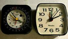 Lot of 2 Westclox & Casio World Time Quartz Alarm Plastic Travel Table Clocks
