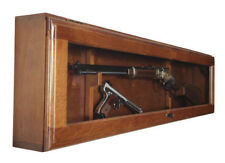 Gun Collector Display Cabinet Wall Mount Rack Wood Case Rifle Shotgun Horizontal