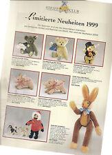 """Prospektblatt: """"Limitierte Neuheiten 1999"""", STEIFF CLUB (Replicas für Sammler)"""