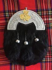 Men's Full Dress kilt Sporran Celtic Cantle/kilt sporrans Irish Shamrook Badge