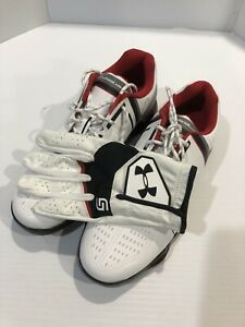 Under Armour Junior Spieth One Golf Shoes And Glove Red And White Size 4Y NEW I