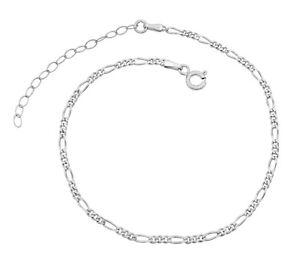 Damen Fußkettchen Figarokette 925 Sterling Silber rhodiniert 2,3mm 20-25cm Kette