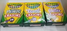 Crayola Crayons 24 Count NonToxic - Pearl  Metallic Glitter 3 Pack New