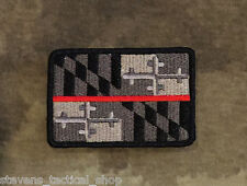 Subdued Thin Red Line Maryland State Flag Patch, Firefighters