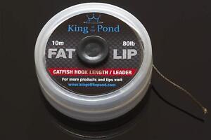 Fat lip catfish hook link / leader 80lb breaking strain, dark brown, catfishing
