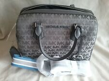 Michael Kors Bedford Large Duffle Canvas/Leather Heather Grey signature handbag