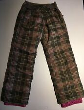 SUPER CUTE Girls Snowboard Pants SZ 128 7/8 Brown & Pink Plaid ~ Well Insulated
