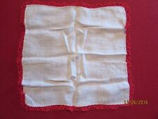 "11"" White with Crocheted Red Edging on Cotton Hankie"