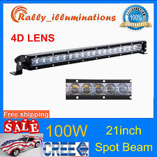 "Slim 21"" 100W Offroad Single Row CREE Chips LED Light Bar Spot Beam 4D OPTICALS"