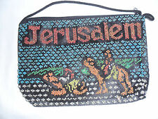 Handmade Jerusalem Black Multy Beaded Bag W/Camels Purse Clutch/Ocross Body NEW