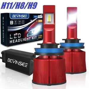 BEVINSEE 2x H11 H8 H9 100W CSP LED Headlights Conversion Bulbs High Low Beam Kit