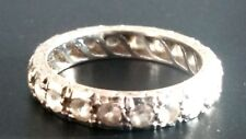 LADIES 9CT SOLID WHITE GOLD DIAMOND FULL ETERNITY RING BAND - Size L