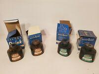 4 x Vintage Bottle Parker Quink Washable inks Fountain Pen Ink Original Box K8