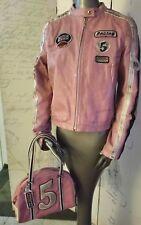Wilsons Leather Rare Distressed Pink Moto Biker Racing Jacket Large With Handbag