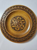 Vintage Hand Carved Wooden Decorative Plate~Wall Hanging Decor~