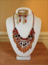 South West Cowgirl Copper Charms Red Black Burgundy Beads Tribal Necklace Set