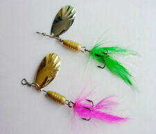 10PCS Fishing Spoon Lure Treble Feather Hook Spinner baits green pink 5g