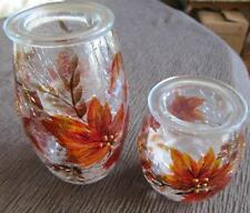 Yankee Candle Autumn Leaves TeaLight Holder Set of 2 Crackle Glass New in Box