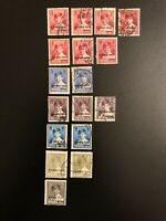 Romania 1928 - 1930 King Michael Used Estate Stamp Lot Of 17 Overprinted Ovpt