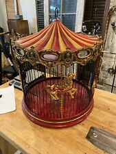 Carousel Bird Cage antique style beautiful horses mirrors red yellow