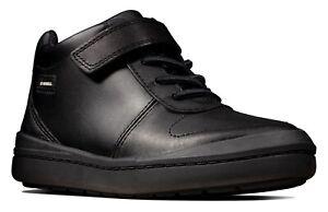 BNIB Clarks Boys Rock Stride Black Leather Waterproof School Boots