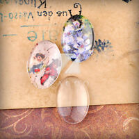 Flat Back Glass Cabochon Round/Oval/Square/Heart Vintage Fit Settings 10-40mm