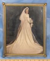 Vintage Lucite Frame w/ Bridal Portrait 1940's dq