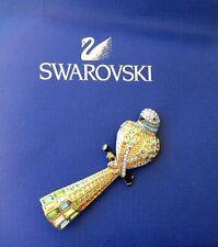 SWAROVSKI GENUINE AUSTRIAN CRYSTALS VINTAGE BROOCH, PARROT BIRD FINE GOLD METAL