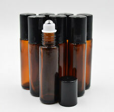 6PCS 10ml amber brown ROLL ON GLASS BOTTLE ESSENTIAL OIL Steel Metal Roller Ball