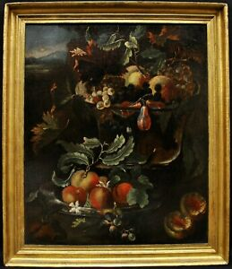 18th CENTURY FLEMISH OLD MASTER STILL LIFE FRUIT IN LANDSCAPE ANTIQUE PAINTING