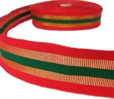 """DISCOUNTED 5 Yd Christmas Red Gold Green Striped Wired Ribbon 1 1/2""""W"""