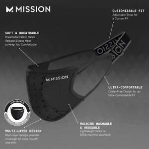 MISSION Sport Mask / Adjustable Strap for Custom Face Cover Fit / Black