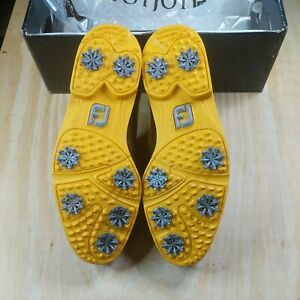 NEW FootJoy City 56468 Brown & Yellow Men's Golf Shoes 9 M FJ Brand New in Box