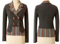 Anthropologie In The Lines Cardigan Small 2 4 Wool Sparrow Wool Striped Sweater
